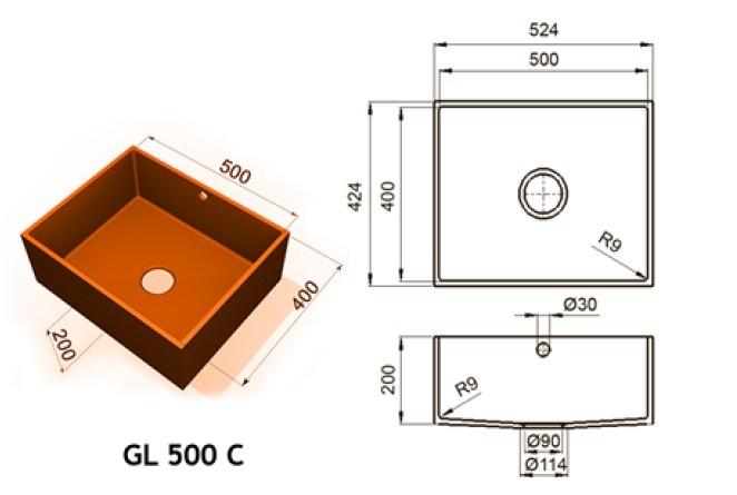 GL 500 C - Интегрированные мойки